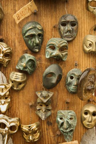 Masks on wall.